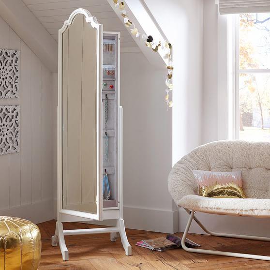 Jewelry Storage Floor Mirror, White