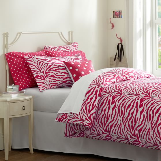 Funky Zebra Duvet Cover, Pink Magenta, Twin