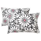 Daisy Dot Extra Pillowcases, Set of 2, Black