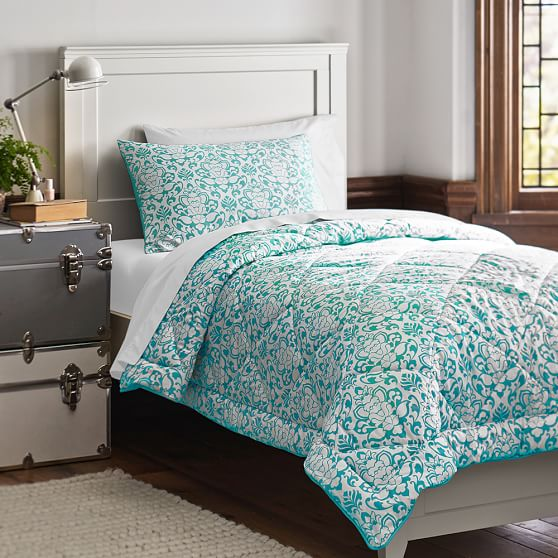 Damask Essential Value Bedding Set, Full/Queen, Pool