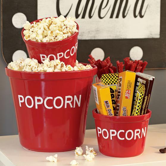 Popcorn Bowl, Red/White, Family Size
