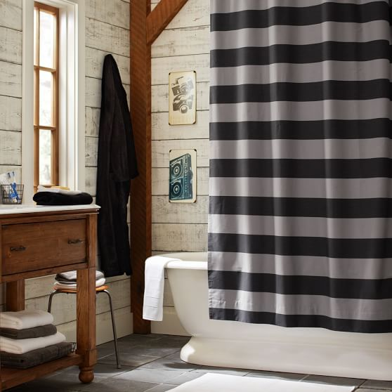 Rugby Stripe Shower-Curtain, Black/Bright Blue