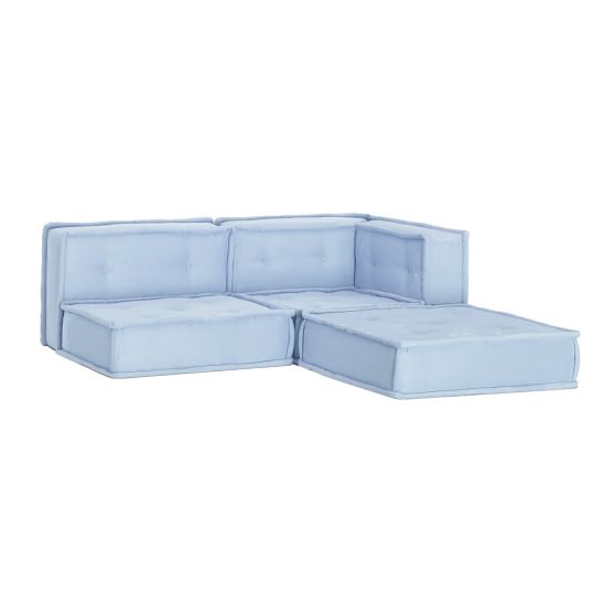 Cushy Lounge Sectional, Ice Blue Faux Suede