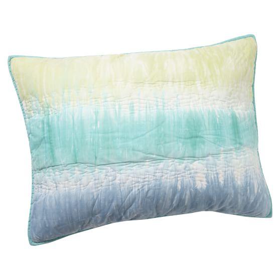 Tie-Dye Stripe Standard Sham, Blue Multi