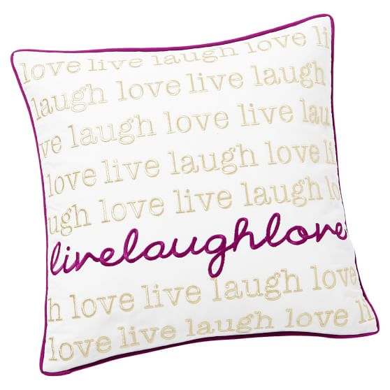 Metallic Inspiration Pillow Cover, 16x16, Live Laugh Love