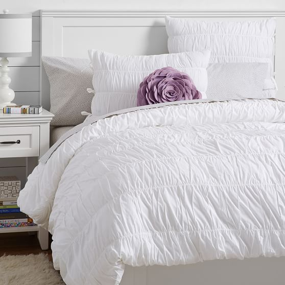 Ruched Duvet Cover, Twin, White