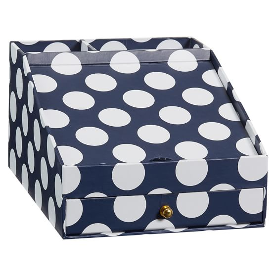 Printed Desk Accessories, Phone Charging Station, Navy Dottie