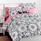 Daisy Dot Duvet Cover, Twin, Black