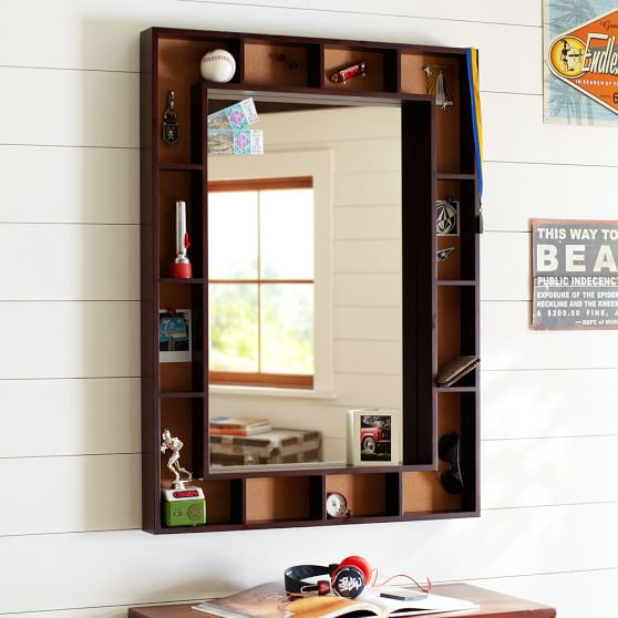Pinboard Display Shelf Framed Mirror, Dark Espresso/Cork
