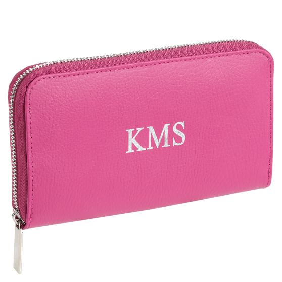 Girls Classic Leather Wallet, Pink