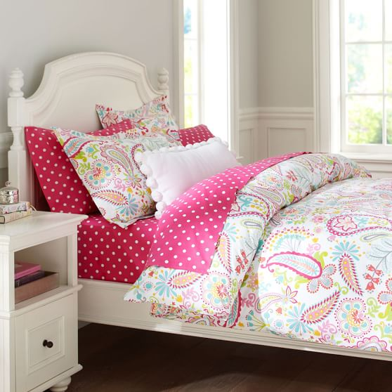 Swirly Paisley Duvet, Full/Queen, Pink Multi
