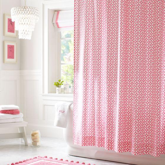 Petal Dot Shower Curtain, Bright Pink