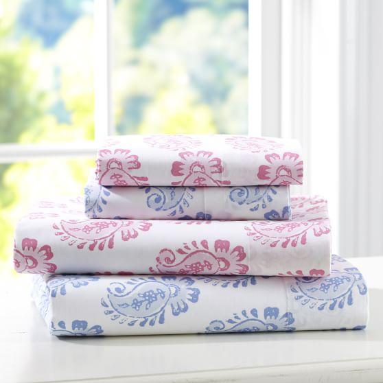 Paisley Block Organic Pillowcases, Set of 2, Bright Pink