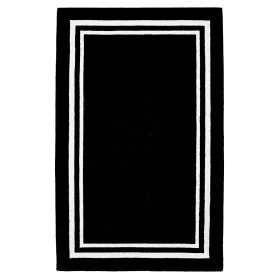 Decorator Border Rug, 3x5, Black