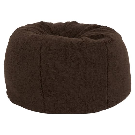 Sherpa Fleece Chocolate Beanbag, Slipcover + Beanbag Insert, Large