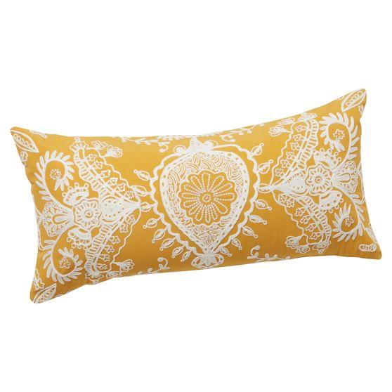 Natalia Pillow Cover, 12x24, Mustard Yellow