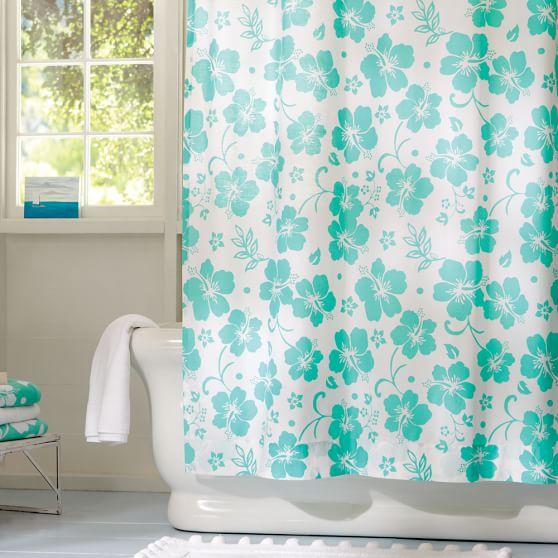 Hibiscus Organic Shower-Curtain, Bright Pink