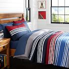 Beckett Stripe Quilt, Twin, Multi Red