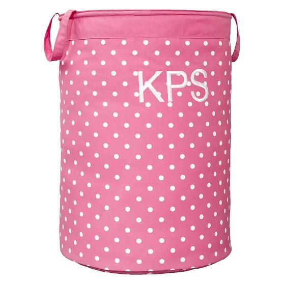 Dottie Contain-It Laundry Bin, Bright Pink Dottie