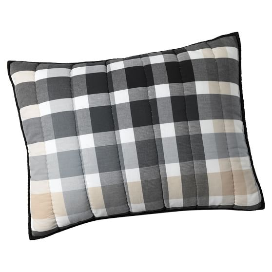 Palmer Plaid Sham, Standard, Black