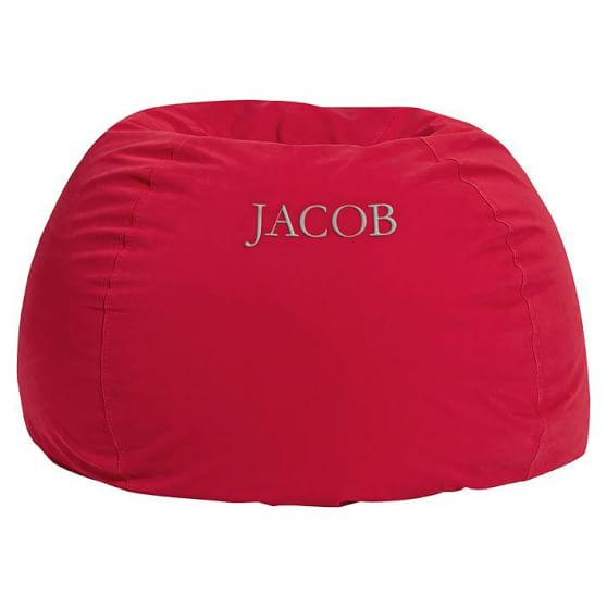 Washed Twill Beanbag, Red, Slipcover + Beanbag Insert