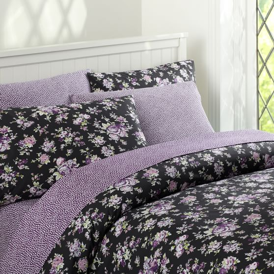 Sunwashed Floral Duvet Cover, Full/Queen, Black