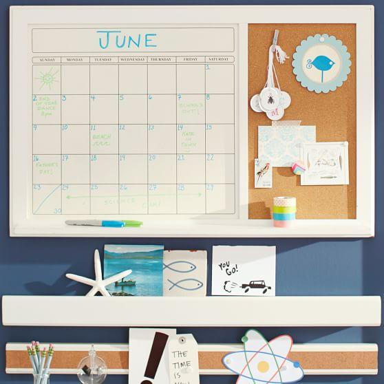 white dry erase calendar corkboard pbteen