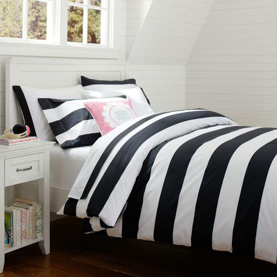 cottage stripe duvet cover sham black pbteen striped black white bedding