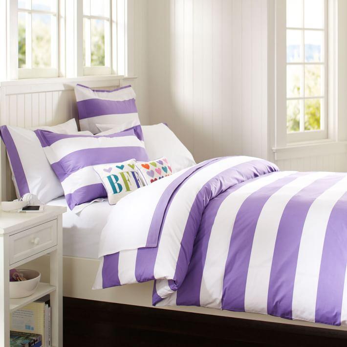 . Cottage Stripe Duvet Cover   Sham  Purple   PBteen