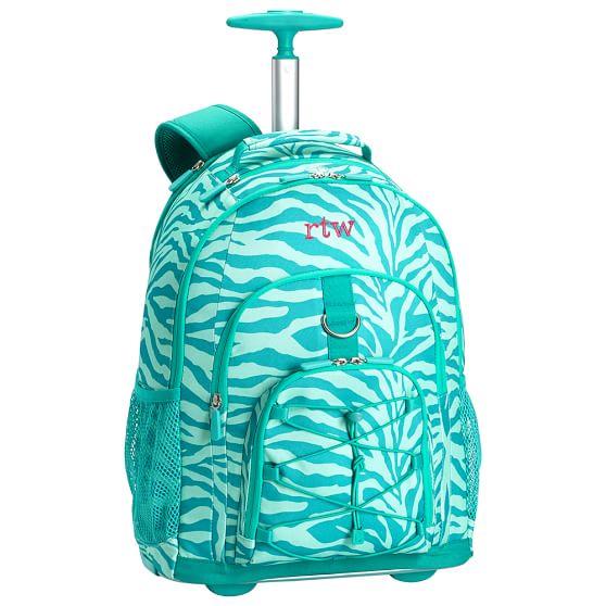 Gear-Up Ceramic Pool Tonal Zebra Rolling Backpack | PBteen