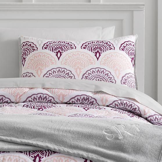 Feather Scallop Deluxe Comforter Set, Full, Purple Multi