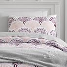 Feather Scallop Deluxe Comforter Set, XL Twin, Purple Multi